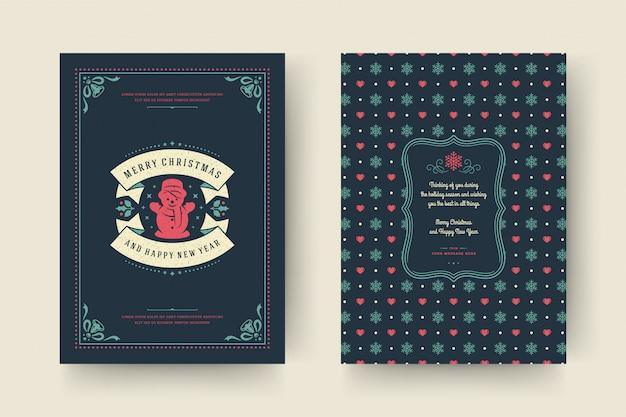 Typographi dell'annata della cartolina d'auguri di natale