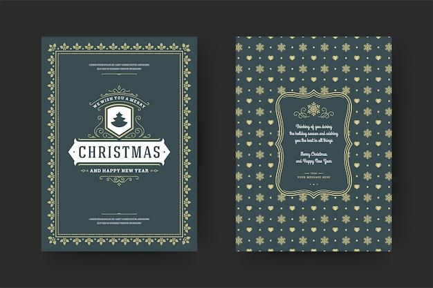 Cartolina d'auguri di natale design tipografico vintage ornato decorazione simboli con desiderio di vacanze invernali