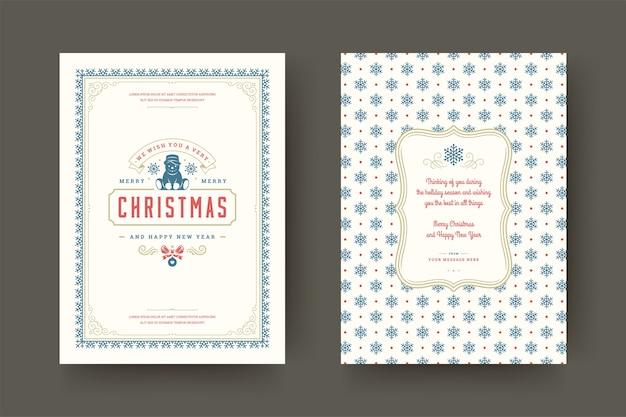 Biglietto di auguri di natale vintage tipografici, simboli ornati di decorazioni con desideri di vacanze invernali, ornamenti e cornice.