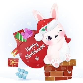 Biglietto di auguri di natale con adorabile coniglietto e regali
