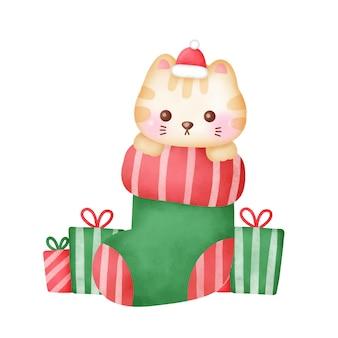 Biglietto di auguri di natale con simpatico gatto in stile acquerello.