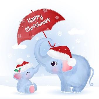 Biglietto di auguri di natale con mamma carina e elefantino