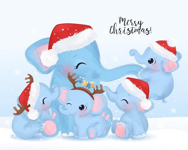 Biglietto di auguri di natale con mamma carina e cuccioli di elefante