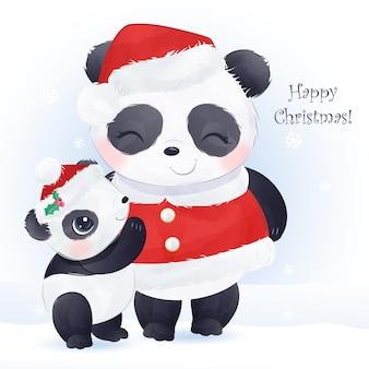 Biglietto di auguri di natale con mamma carina e baby panda
