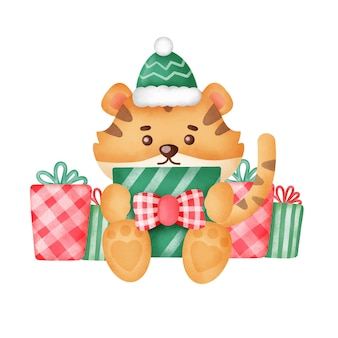 Biglietto di auguri di natale con simpatica tigre e scatole regalo in stile acquerello.