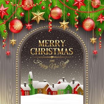 Biglietto di auguri di natale con decorazioni natalizie, palline e città invernale.