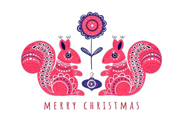 Biglietto di auguri di natale con due simpatici scoiattoli su sfondo bianco decorativo in stile folk