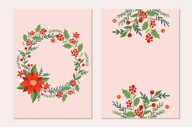 Modello di biglietti di auguri di natale con rami di pino, fiori di poinsettia e bacche rosse su sfondo nero. invito alle vacanze.
