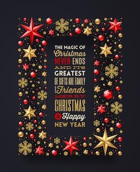Design del tipo di auguri di natale nel telaio realizzato con decorazioni natalizie