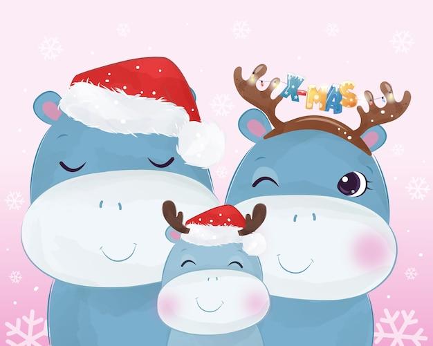 Auguri di natale con adorabile famiglia di ippopotami. illustrazione di natale.