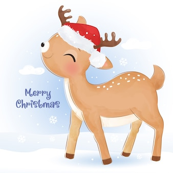 Auguri di natale con adorabili renne. illustrazione di natale.