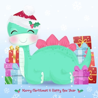 Auguri di natale con simpatico dinosauro verde. illustrazione di natale.
