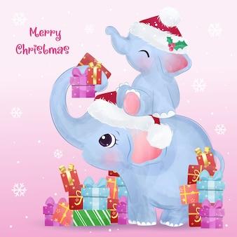 Auguri di natale con mamma carina e elefantino. illustrazione di natale.