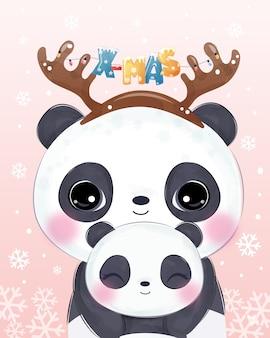 Auguri di natale con mamma carina e baby panda. illustrazione di natale.