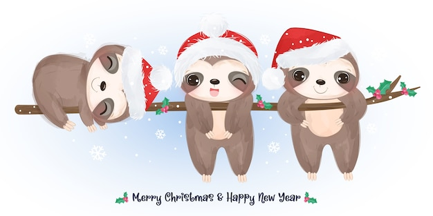 Auguri di natale con simpatici bradipi che giocano insieme.