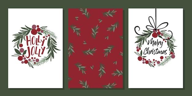 Set di biglietti di auguri natalizi in stile classico tradizionale