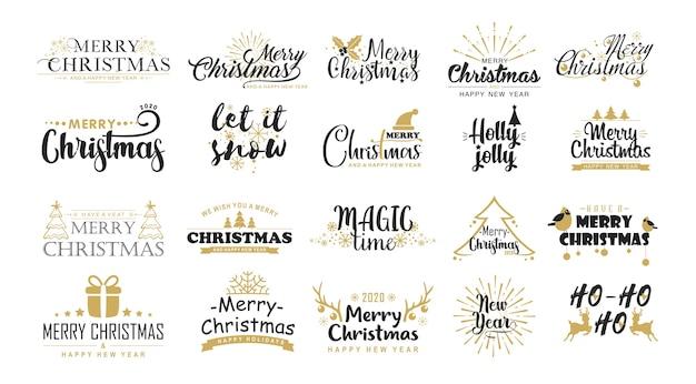Set di adesivi di vettore piatto di auguri di natale. messaggi di natale, frasi festive, simboli invernali.