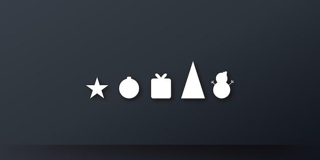 Sfondo banner presentazione auguri di natale con icona regalo albero stella e stelle su colore nero...