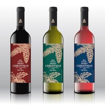 Concetto di etichette della bottiglia di vino di auguri di natale.