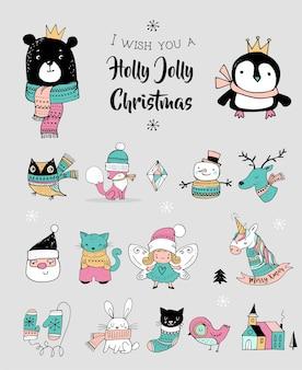 Doodles carini disegnati a mano di natale, adesivi, illustrazioni. pinguino, orso, gatto e babbo natale