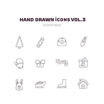 Icone disegnate a mano di contorno di natale