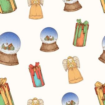 Reticolo senza giunte del fondo di vettore disegnato a mano di natale. angeli, scatole regalo con nastro e carta con schizzi a palle di neve o modello di copertina. carta da parati per decorazioni natalizie per carta da regalo o stampa tessile