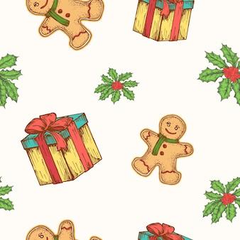 Reticolo senza giunte del fondo di vettore disegnato a mano di natale. confezione regalo, ginger cookie man e biglietto di schizzi di vischio o modello di copertina. carta da parati per decorazioni natalizie per carta da regalo o stampa tessile