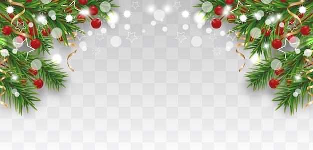 Natale e felice anno nuovo confine con rami di albero di natale