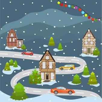 Paesaggio urbano di natale e felice anno nuovo che celebra le vacanze invernali cartoon old building town street