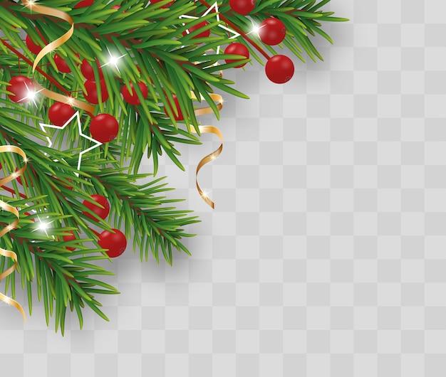 Decorazione di natale e felice anno nuovo con rami di albero di natale