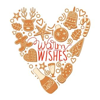 Biglietto di auguri di natale e felice anno nuovo con biscotti e scritte di natale