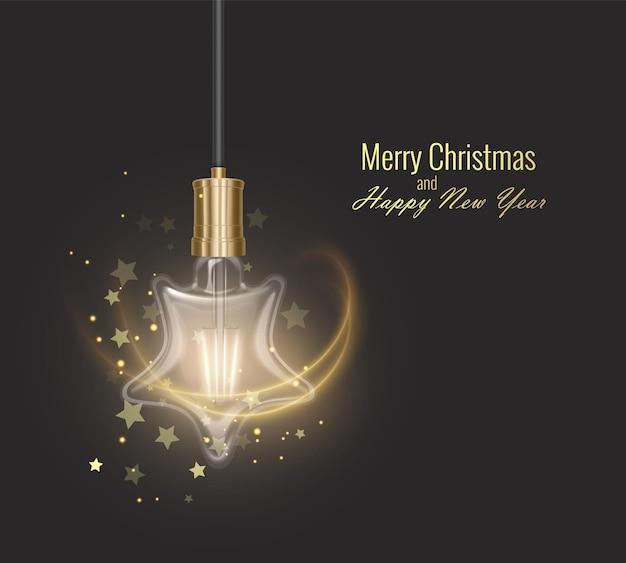 Biglietto di auguri di natale e felice anno nuovo con una lampadina incandescente circondata da luce e stelle