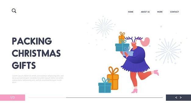 Biglietto di auguri di natale e felice anno nuovo con personaggi di persone con anno 2020 per web design, banner, app mobile, pagina di destinazione. donna con regali celebrazione, festa, vacanze.