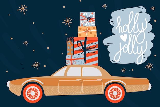 Biglietto di auguri di natale e felice anno nuovo con regali e scritte per auto retrò
