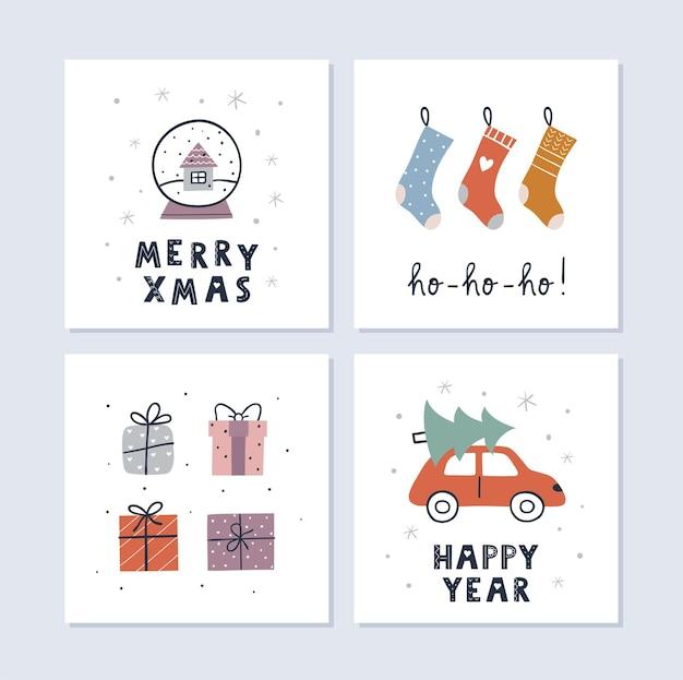 Set di cartoline d'auguri di natale e felice anno nuovo. calzini di natale, regali, globo di neve. simpatico design semplice. illustrazione vettoriale.