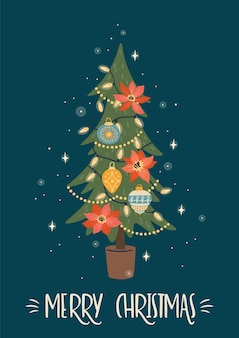 Illustrazione di natale e felice anno nuovo dell'albero di natale. stile retrò alla moda.