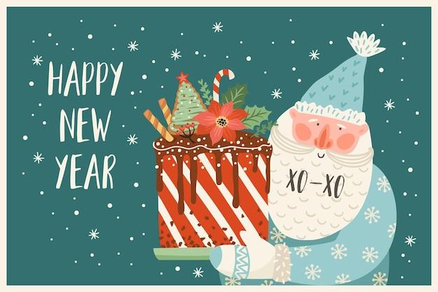 Natale e felice anno nuovo illustrazione di babbo natale con la torta. stile retrò alla moda. modello di disegno vettoriale.