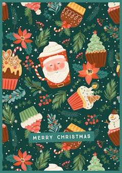 Illustrazione di natale e felice anno nuovo con dolci e bevande natalizie. stile retrò alla moda. modello di disegno vettoriale.