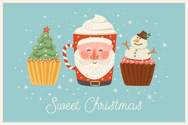 Illustrazione di natale e felice anno nuovo con dolci e bevande natalizie.