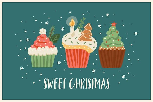 Illustrazione di natale e felice anno nuovo con dolci natalizi. stile retrò alla moda. modello di disegno vettoriale.