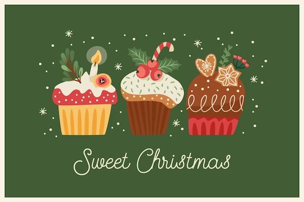 Illustrazione di natale e felice anno nuovo con dolci natalizi. stile retrò alla moda. modello di disegno vettoriale. Vettore Premium