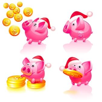 Salvadanaio di natale e felice anno nuovo con monete