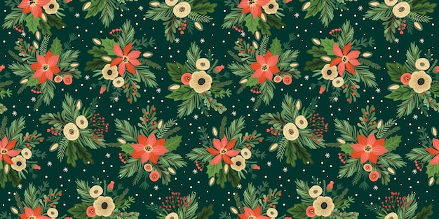 Reticolo senza giunte di natale e felice anno nuovo. albero di natale, fiori, bacche. simboli di capodanno.