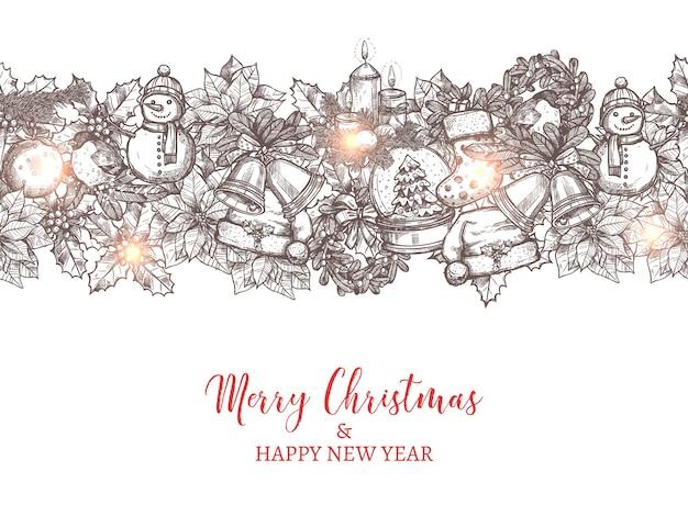 Natale e felice anno nuovo modello senza cuciture sotto forma di confine realizzato con icone disegnate a mano festive e vacanze.