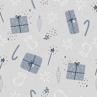 Modello senza cuciture di natale e felice anno nuovo con scatole regalo di natale, stelle e giocattoli dell'albero di natale. modello di disegno vettoriale. carta digitale.