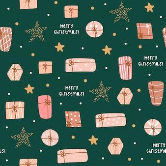 Reticolo senza giunte di natale e felice anno nuovo con regali carini e stelle. modello di disegno vettoriale.