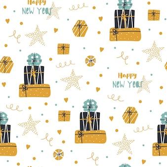 Reticolo senza giunte di natale e felice anno nuovo con regali carini.