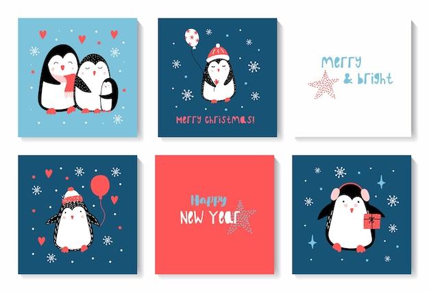Natale e felice anno nuovo set di carte con simpatici pinguini di natale.