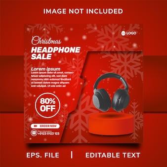 Vendita di cuffie natalizie promozione sui social media e design del modello di banner post di instagram