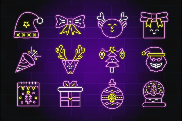 Set di icone al neon di alta qualità di natale premium